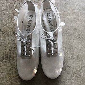 Chanel Silver/Clear Sequin Leather Moccasins
